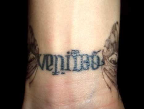 MY NEW TATTOO! There are two meanings when you turn it upside down. Veritas